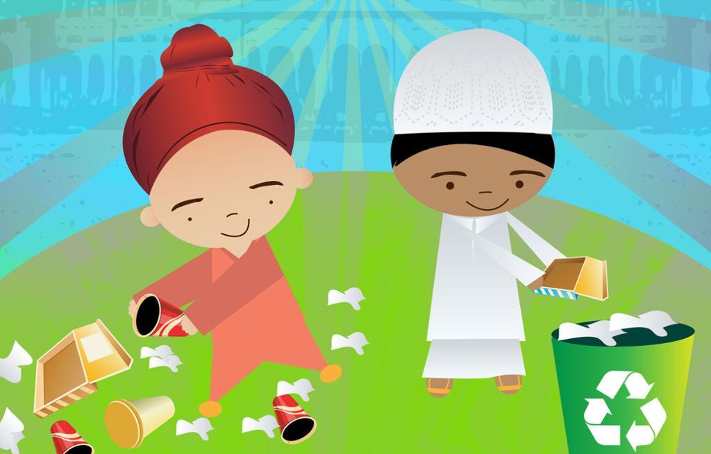 En gutt med tyrban og en gutt med hvit lue sorterer søppel. Illustrasjon.