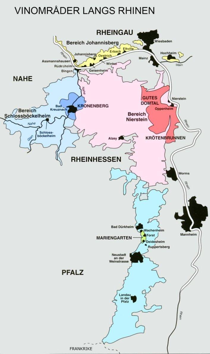 Kart over vindistriktene i Rhindalen. Foto.