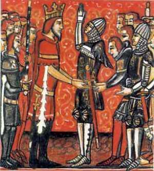 Roland møter kongen. Illustrasjon.