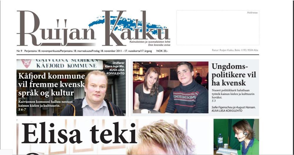 Utsnitt av forsida til den kvenske avisa Ruijan Kaiku. Faksimile.