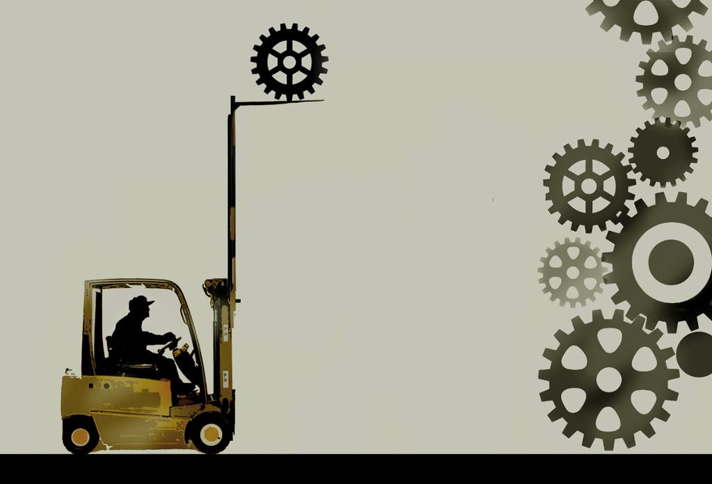 Truckfører legger ved et tannhjul til andre tannhjul. Illustrasjon.