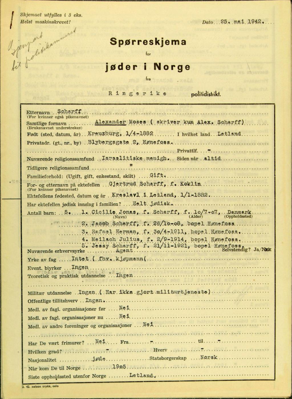 Spørreskjema for jøder fra Ringerike politikammer. Statsarkivet i Kongsberg.