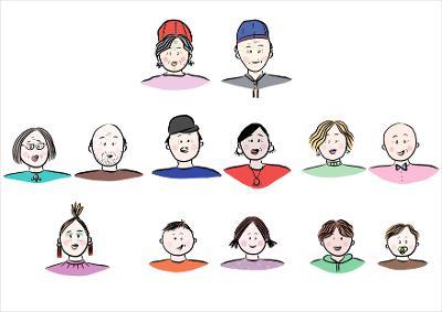 Illustrasjon av storfamilie. Mange tegnede familiemedlemmer i tre rekker – et slektstre. Tegning.