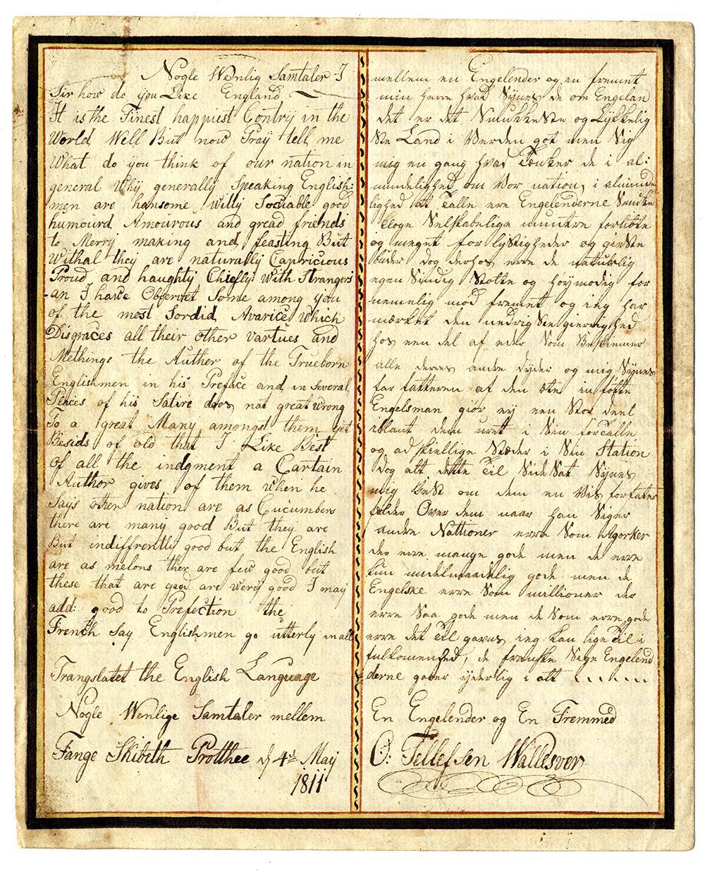 Håndskrevet dokument. Fotografi.