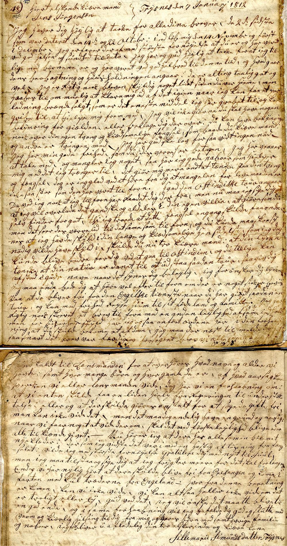 Håndskrevet brev. Fotografi.