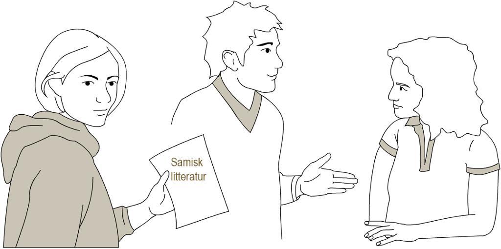 Tre studenter diskuterer samisk litteratur. Tegning.