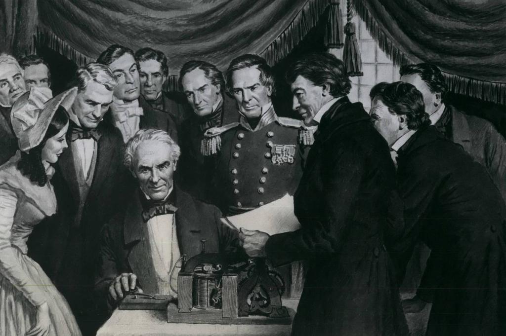 Samuel Morse sender det første telegrammet omgitt av mange menn. Illustrasjon.