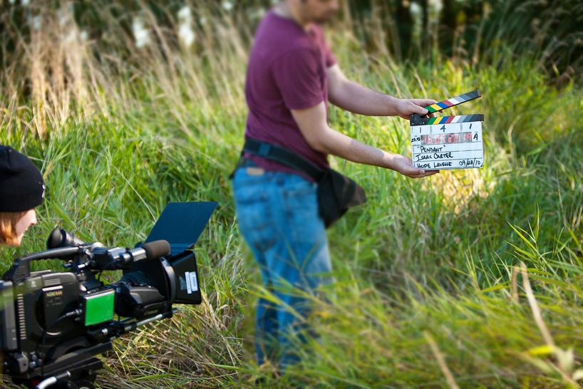Start på filming på filmsett. Foto.