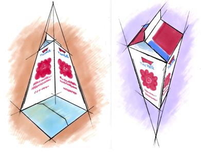 Bilde av to melkekartonget tegnet i trepunktsperspektiv