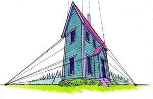 Bilde av et hus tegnet i trepunktsperspektiv