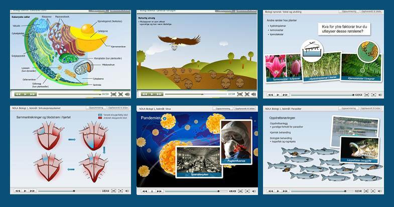 Bilder av seks biologi-eForelesninger.