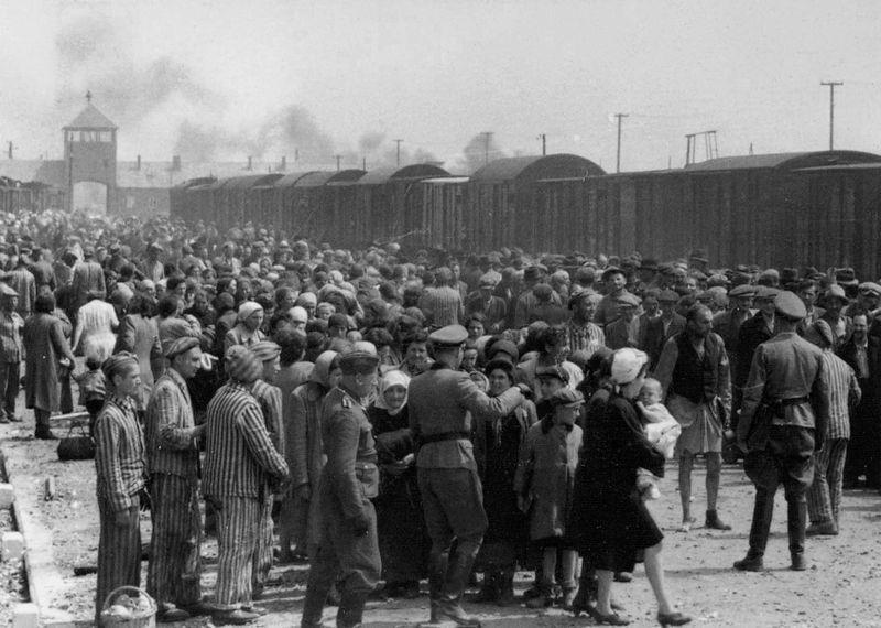 Ungarske jøder i Auschwitz-Birkenau blir gjenstand for utvelgelse etter ankomst med tog i 1944. Foto.