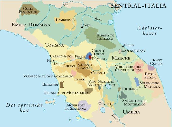 Kart over vinområdene i sentral-Italia..foto.