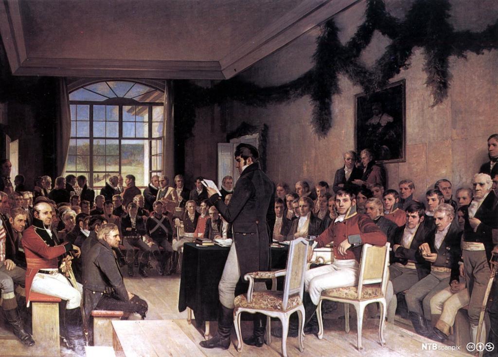 Oscar Wergelands kunstverk Riksforsamlingen på Eidsvold 1814. Maleri.