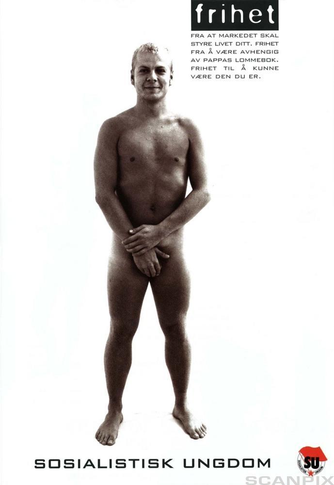 Reklameplakat for SV: En naken Heiki Holmås - kroppen er tatt fra en kroppsbygger. Illustrasjon.