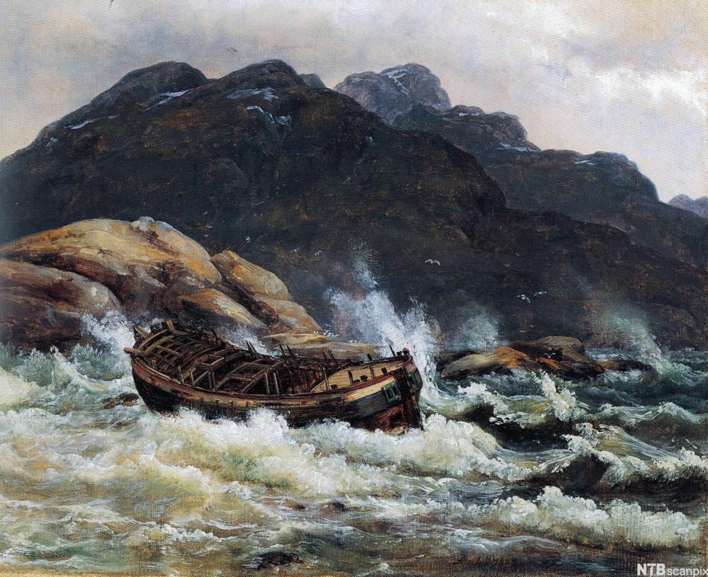 """Maleri av J.C. Dahl, """"Skipbrudd ved den norske kyst""""."""