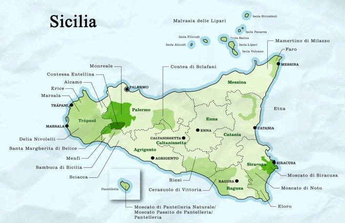 Kart over Sicilia. Foto.