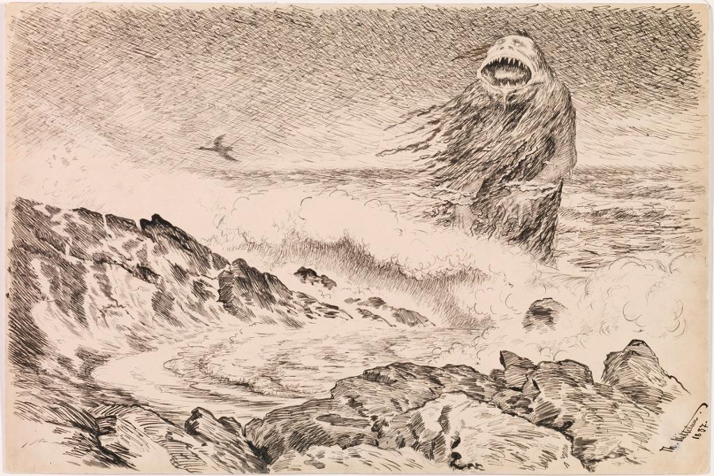 Sjøtrollet av Theodor Kittelsen. Tegning.