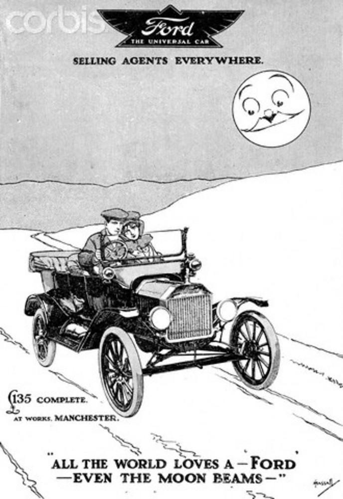 Bildet viser en britisk reklame for Ford fra 1915.