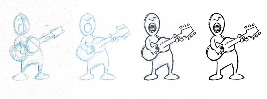 Prosess som viser skisse av et menneske. Tegning.