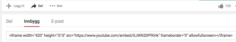 Embedkode ndla video om fordøyelsen (skjermdump)