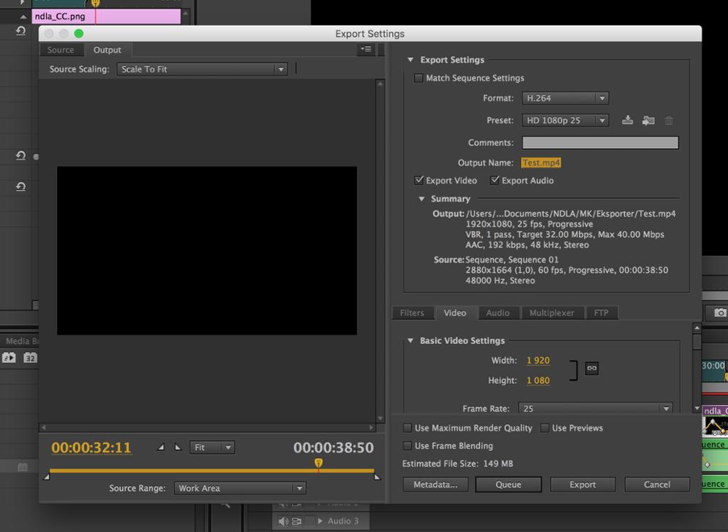 Eksportvideo i et videoredigeringsprogram. Skjermdump.