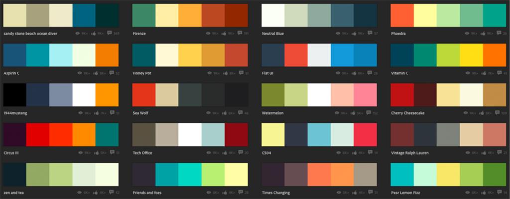Fargeforslag fra Adobe Color. Skjermdump.