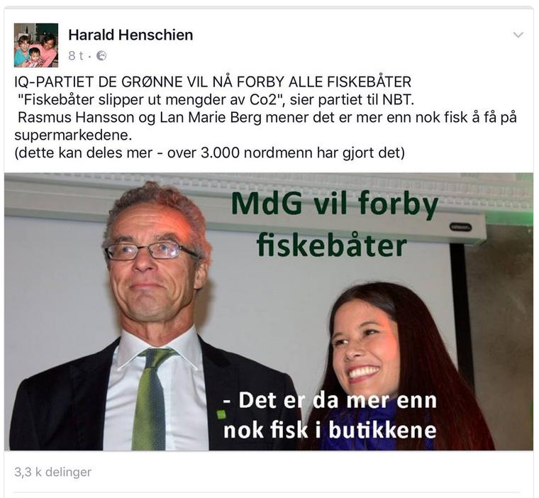 Bilde med oppdiktet replikkveksling mellom Rasmus Hansson og Lan Marie Berge. Faksimile.