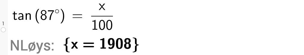 tangens til 87 gradar \
