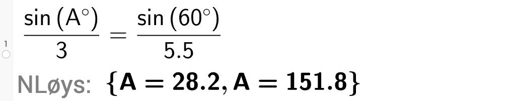 sinus til A gradar delt på 3 komma 0 \