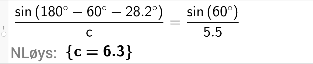 sinus til 180 gradar minus 60 gradar minus 28 komma 2 gradar delt på c \