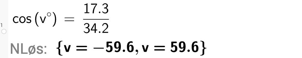 cos komma v grader komma 17,3 delt på 34,2.Foto.