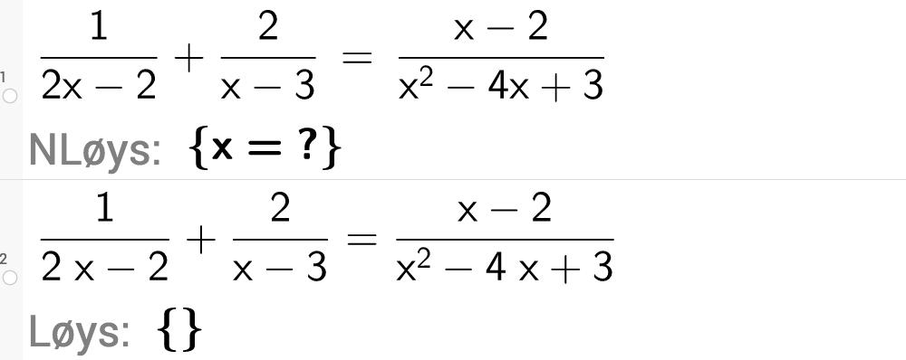 Løyse likninger med rasjonale uttrykk i GeoGebra. Bilete.