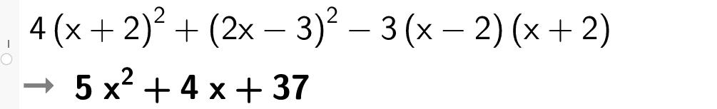 Regne med kvadratsetningene i Geogebra. Bilde.