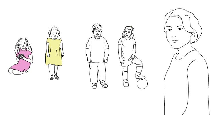 4 barn og en voksen som ser på. tegning.