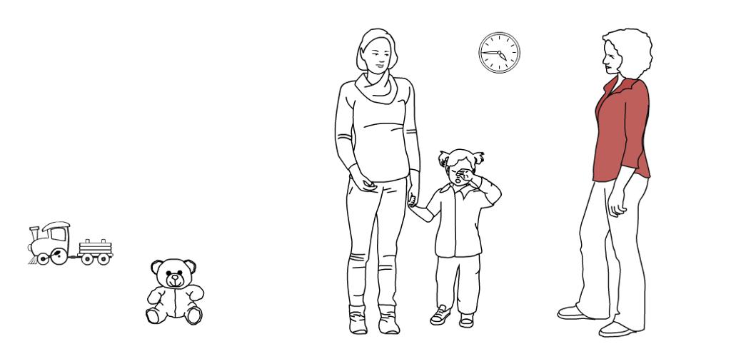 Mor og barn snakker med en voksen i barnehagen. tegning.