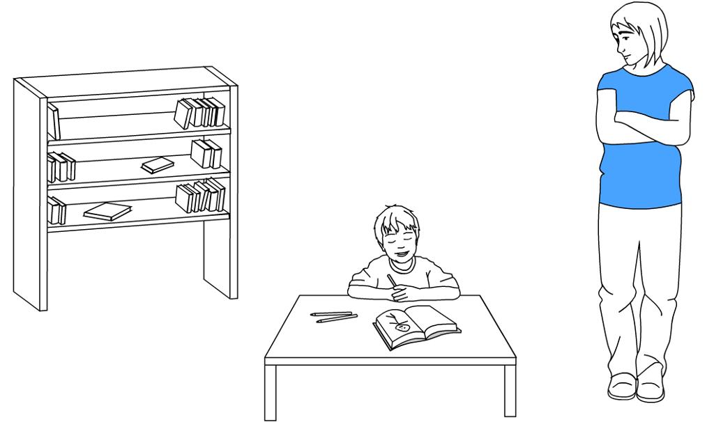 Barn som tegner i ei bok og en voksen som ser på. Tegning.