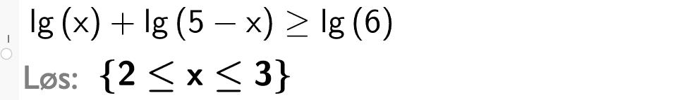 Ulikheter med logaritmeuttrykk i GeoGebra. Utklipp