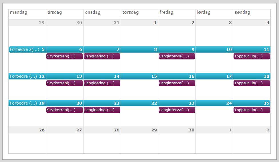illustrasjon av en månedskalender, skjermdump av en måned