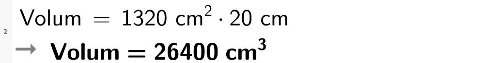 1320 kvadrat cm multiplisert med 20 cm er lik 26400 kubikk cm. cas-utkilpp.