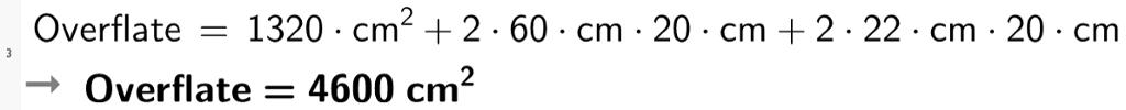 Arealtet av bunnen + arealet av de 4 sideflatene er lik 4600 kvadrat cm. cas-utklipp.