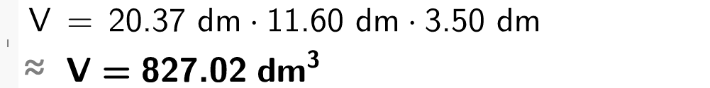 Volumet er lik 20 komma 37 dm multilpisert med 11 komma 60 dm multiplisert med 3 komma 50 dm. casutklipp.