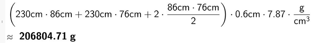 23o cm multiplisert med 86 cm pluss 230 cm multiplisert med 76 cm pluss86 cm multiplisert med 76 cm dividert på 2 og multiplisert med 2 multiplisert med 0 komma 6 cm multiplisert med 7 komma 87 gram per kubikkcentimeter.casutklipp.