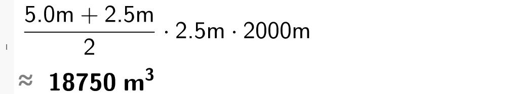 5 meter+2 komma 5 meter dividert på 2 multiplisert med 2 komma 5 og 2000 meter.casutklipp.