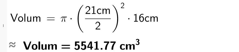 Pi multiplisert med parantes 21 dividert på 2 parantes slutt i andre multiplisert med 16