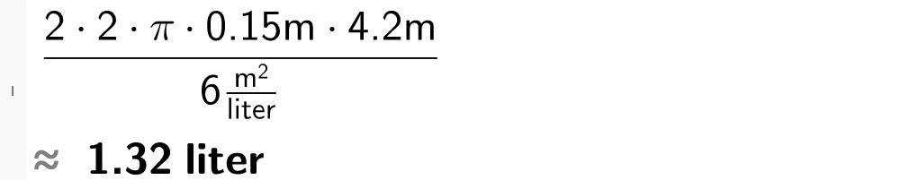 2 multiplisert med 2 og pi og 0 komma 15 meter og 4 komma 2 meter dividert på 6 kvadratmeter over liter.casutklipp.