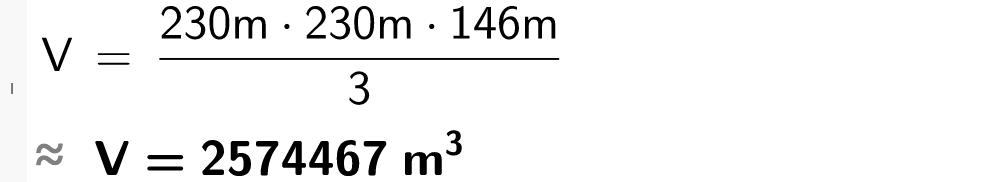 V er lik 230 meter multiplisert med 230 meter og 146 meter dividert på 3.casutklipp.