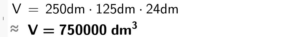 V er lik 250 dm multiplisert med 125 dm og 24 dm.casutklipp.