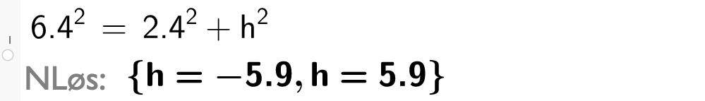 6 komma 4 i andre er lik 2 komma 4 i andre pluss h i andre.casutklipp.