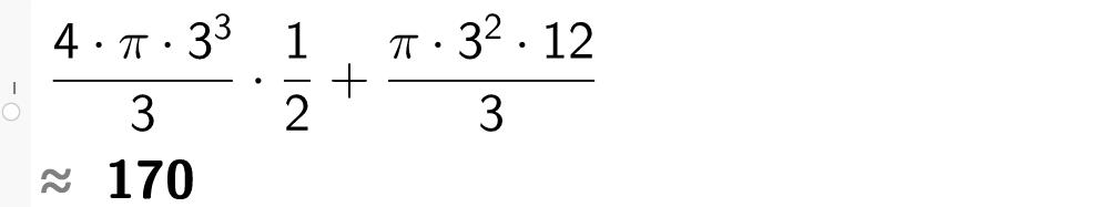 4multiplisert med 4 pi og 3 i tredje over 3 multiplisert med 1 over 2 pluss pi multiplisert med 3 i andre og 12 over 3.casutklipp.